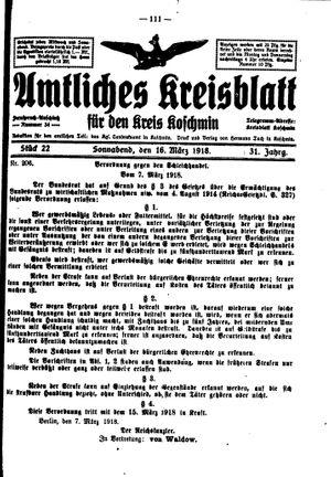 Amtliches Kreisblatt für den Kreis Koschmin vom 16.03.1918