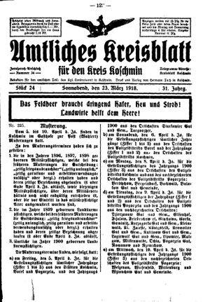 Amtliches Kreisblatt für den Kreis Koschmin vom 23.03.1918