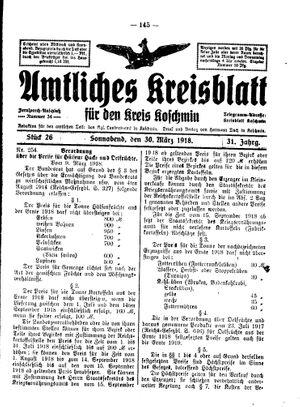 Amtliches Kreisblatt für den Kreis Koschmin vom 30.03.1918