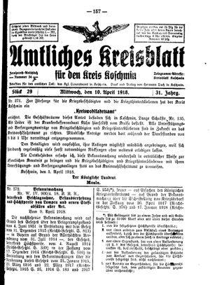 Amtliches Kreisblatt für den Kreis Koschmin vom 10.04.1918