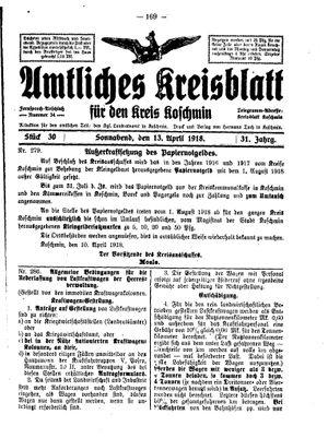 Amtliches Kreisblatt für den Kreis Koschmin vom 13.04.1918