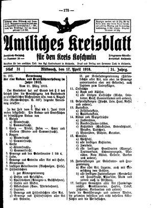 Amtliches Kreisblatt für den Kreis Koschmin on Apr 17, 1918
