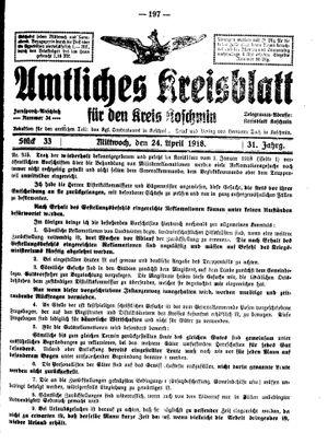 Amtliches Kreisblatt für den Kreis Koschmin vom 24.04.1918