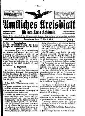 Amtliches Kreisblatt für den Kreis Koschmin on Apr 27, 1918