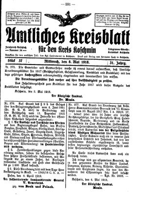 Amtliches Kreisblatt für den Kreis Koschmin vom 08.05.1918