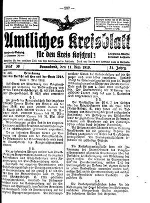 Amtliches Kreisblatt für den Kreis Koschmin vom 11.05.1918