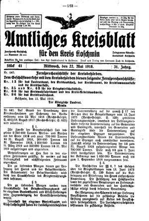 Amtliches Kreisblatt für den Kreis Koschmin vom 22.05.1918