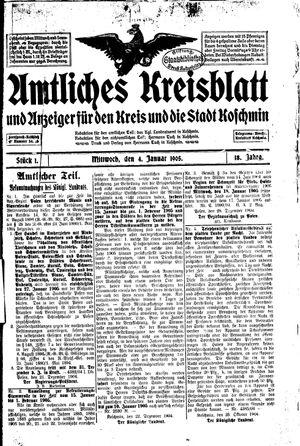 Amtliches Kreisblatt und Anzeiger für den Kreis und die Stadt Koschmin vom 04.01.1905