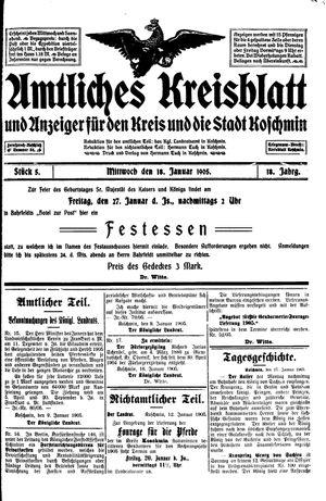 Amtliches Kreisblatt und Anzeiger für den Kreis und die Stadt Koschmin vom 18.01.1905