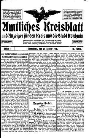 Amtliches Kreisblatt und Anzeiger für den Kreis und die Stadt Koschmin on Jan 21, 1905