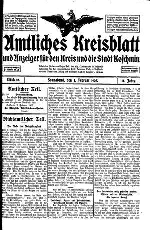 Amtliches Kreisblatt und Anzeiger für den Kreis und die Stadt Koschmin vom 04.02.1905