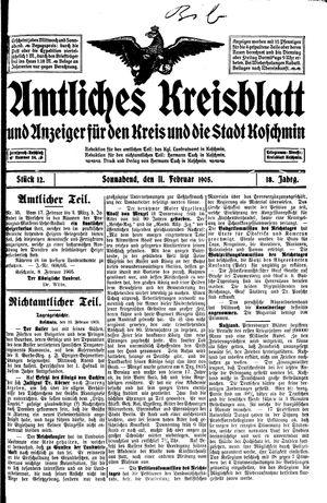 Amtliches Kreisblatt und Anzeiger für den Kreis und die Stadt Koschmin vom 11.02.1905
