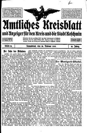 Amtliches Kreisblatt und Anzeiger für den Kreis und die Stadt Koschmin vom 18.02.1905