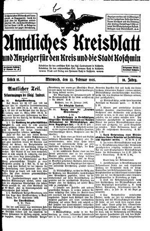 Amtliches Kreisblatt und Anzeiger für den Kreis und die Stadt Koschmin vom 22.02.1905