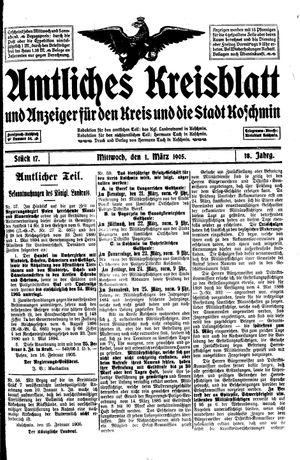 Amtliches Kreisblatt und Anzeiger für den Kreis und die Stadt Koschmin vom 01.03.1905