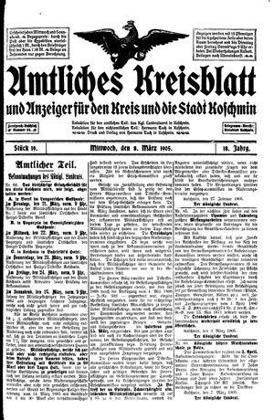 Amtliches Kreisblatt und Anzeiger für den Kreis und die Stadt Koschmin on Mar 8, 1905