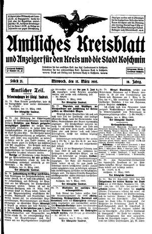 Amtliches Kreisblatt und Anzeiger für den Kreis und die Stadt Koschmin vom 15.03.1905