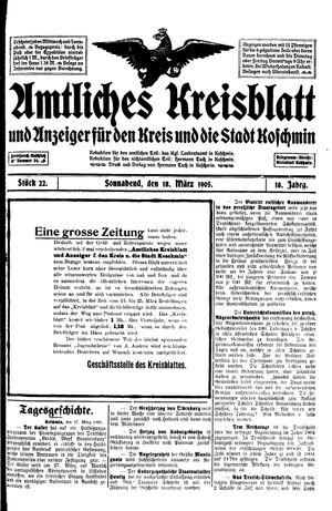 Amtliches Kreisblatt und Anzeiger für den Kreis und die Stadt Koschmin vom 18.03.1905