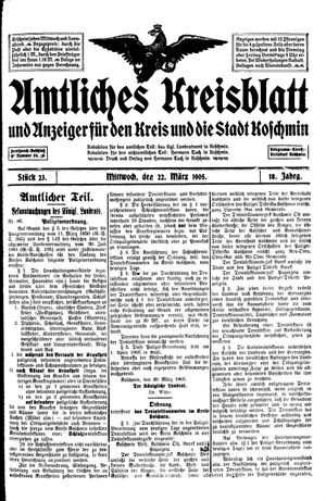 Amtliches Kreisblatt und Anzeiger für den Kreis und die Stadt Koschmin on Mar 22, 1905