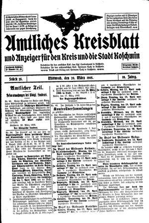 Amtliches Kreisblatt und Anzeiger für den Kreis und die Stadt Koschmin vom 29.03.1905