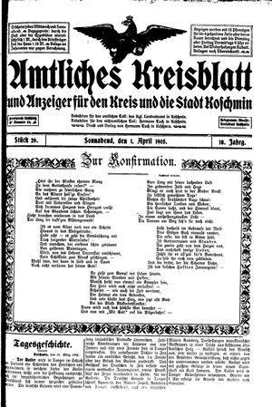 Amtliches Kreisblatt und Anzeiger für den Kreis und die Stadt Koschmin on Apr 1, 1905