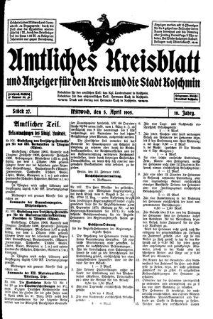 Amtliches Kreisblatt und Anzeiger für den Kreis und die Stadt Koschmin vom 05.04.1905