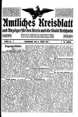 Amtliches Kreisblatt und Anzeiger für den Kreis und die Stadt Koschmin vom 08.04.1905