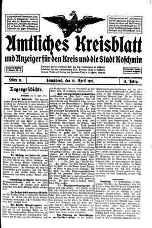 Amtliches Kreisblatt und Anzeiger für den Kreis und die Stadt Koschmin vom 15.04.1905