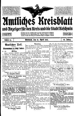 Amtliches Kreisblatt und Anzeiger für den Kreis und die Stadt Koschmin vom 19.04.1905