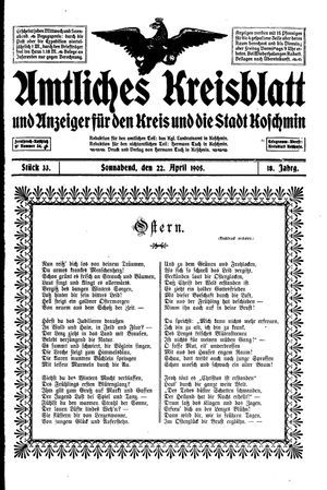 Amtliches Kreisblatt und Anzeiger für den Kreis und die Stadt Koschmin vom 22.04.1905