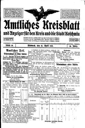Amtliches Kreisblatt und Anzeiger für den Kreis und die Stadt Koschmin vom 26.04.1905