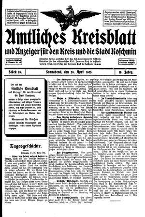 Amtliches Kreisblatt und Anzeiger für den Kreis und die Stadt Koschmin vom 29.04.1905