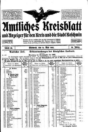 Amtliches Kreisblatt und Anzeiger für den Kreis und die Stadt Koschmin vom 10.05.1905