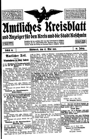 Amtliches Kreisblatt und Anzeiger für den Kreis und die Stadt Koschmin on May 17, 1905