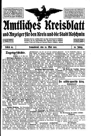 Amtliches Kreisblatt und Anzeiger für den Kreis und die Stadt Koschmin vom 20.05.1905