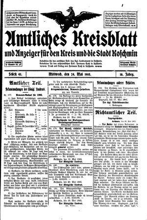 Amtliches Kreisblatt und Anzeiger für den Kreis und die Stadt Koschmin vom 24.05.1905
