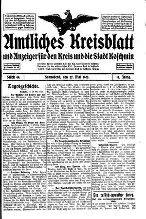 Amtliches Kreisblatt und Anzeiger für den Kreis und die Stadt Koschmin vom 27.05.1905