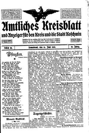 Amtliches Kreisblatt und Anzeiger für den Kreis und die Stadt Koschmin vom 10.06.1905