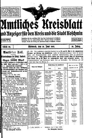 Amtliches Kreisblatt und Anzeiger für den Kreis und die Stadt Koschmin vom 14.06.1905