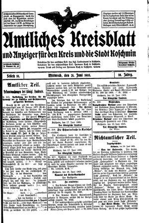 Amtliches Kreisblatt und Anzeiger für den Kreis und die Stadt Koschmin vom 21.06.1905