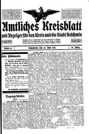 Amtliches Kreisblatt und Anzeiger für den Kreis und die Stadt Koschmin vom 24.06.1905