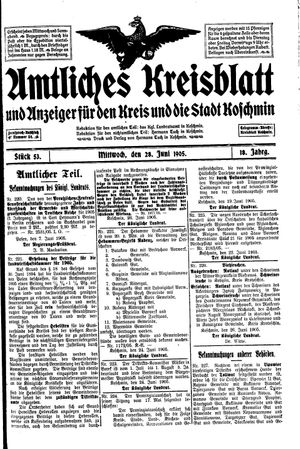 Amtliches Kreisblatt und Anzeiger für den Kreis und die Stadt Koschmin vom 28.06.1905