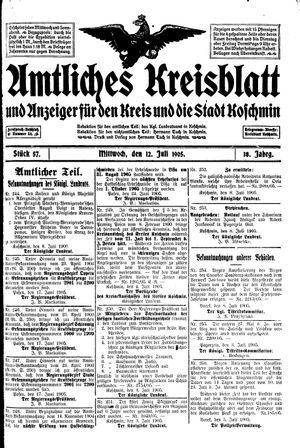 Amtliches Kreisblatt und Anzeiger für den Kreis und die Stadt Koschmin vom 12.07.1905
