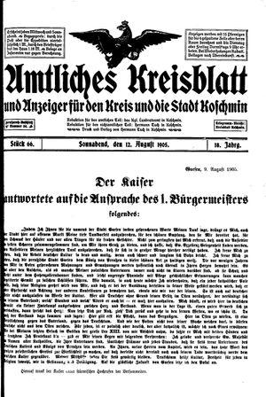 Amtliches Kreisblatt und Anzeiger für den Kreis und die Stadt Koschmin vom 12.08.1905
