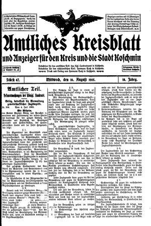 Amtliches Kreisblatt und Anzeiger für den Kreis und die Stadt Koschmin on Aug 16, 1905