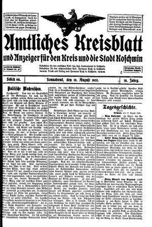 Amtliches Kreisblatt und Anzeiger für den Kreis und die Stadt Koschmin vom 19.08.1905