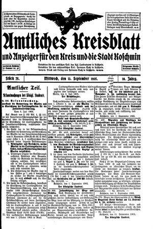 Amtliches Kreisblatt und Anzeiger für den Kreis und die Stadt Koschmin vom 13.09.1905