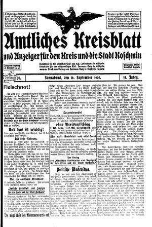 Amtliches Kreisblatt und Anzeiger für den Kreis und die Stadt Koschmin vom 16.09.1905