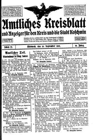 Amtliches Kreisblatt und Anzeiger für den Kreis und die Stadt Koschmin vom 20.09.1905
