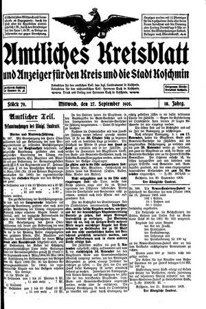 Amtliches Kreisblatt und Anzeiger für den Kreis und die Stadt Koschmin on Sep 27, 1905